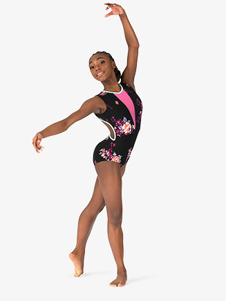 "Girls ""Blossom"" Black Open Back Tank Leotard - Style No 18239C"