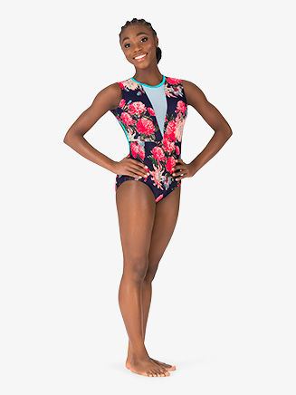 "Womens ""Blossom"" Navy Open Back Tank Leotard - Style No 18242"