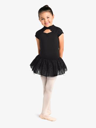 Girls Embroidered Mesh Short Sleeve Ballet Tutu Dress - Style No 19204C