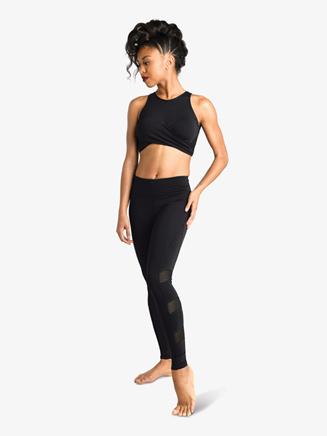 Womens Mesh Full Length Dance Leggings - Style No 19400A