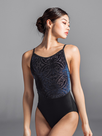 Girls Velvet Mesh Back Camisole Leotard - Style No 2129C