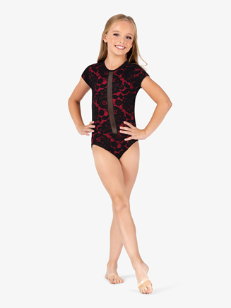 """Girls """"Fire Queen"""" Two-Tone Lace Short Sleeve Leotard - Style No 5631C"""