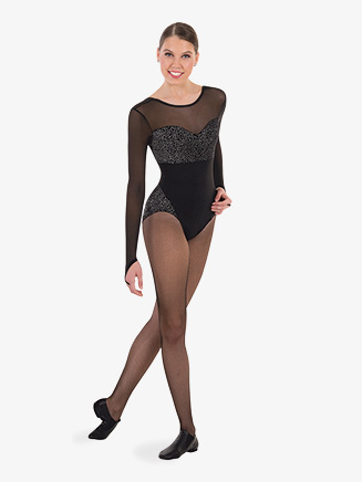Womens Shimmering Velvet Long Sleeve Leotard - Style No 8000