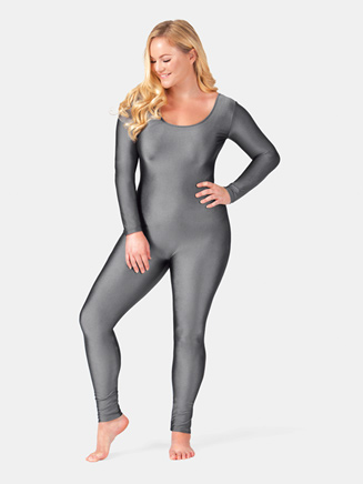 Adult Plus Size Nylon Scoop Neck Long Sleeve Unitard - Style No 811P
