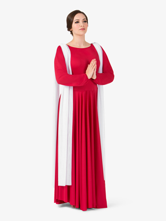 Womens Attached Scarf Worship Dress - Style No BT5195x