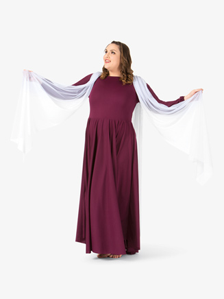 Womens Plus Size Attached Scarf Worship Dress - Style No BT5195Px
