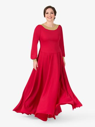 Womens Metallic Back Worship Dress - Style No BT5196