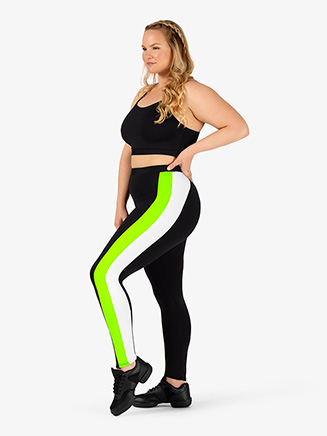 Womens Plus Size Team Three-Tone Compression Leggings - Style No BT5216P