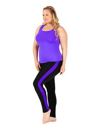 Womens Plus Size Team Contrast Stripe Compression Leggings - Style No BT5220P