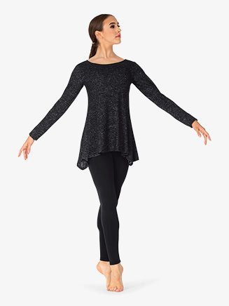 Womens Plus Size Long Sleeve Dance Tunic Top - Style No BT5227P