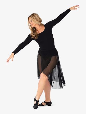 Womens Faux Wrap Mesh Dance Skirt - Style No BT5229