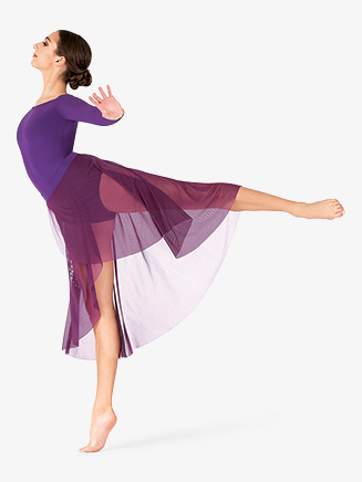 Womens Plus Size Faux Wrap Mesh Dance Skirt - Style No BT5229P