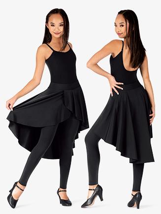 Womens Plus Size Asymmetrical Faux Skirt Dance Leggings - Style No BT5232P
