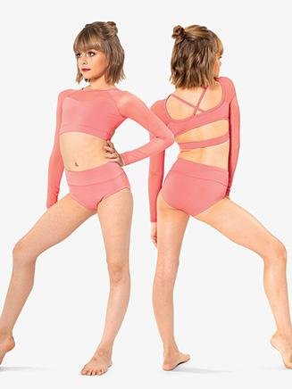 Girls Mesh Sweetheart Long Sleeve Dance Crop Top - Style No BT5247C