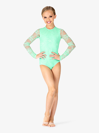 Girls Lace Long Sleeve Leotard - Style No BT5250C