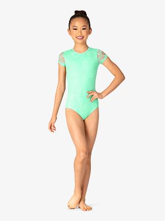 Girls Lace Short Sleeve Leotard - Style No BT5251C