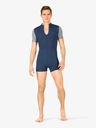 Mens Two-Tone Mock Neck Dance Shorty Unitard - Style No BT5304
