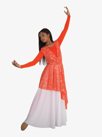 Kids Worship Asymmetrical Lace Overlay - Style No BW0626