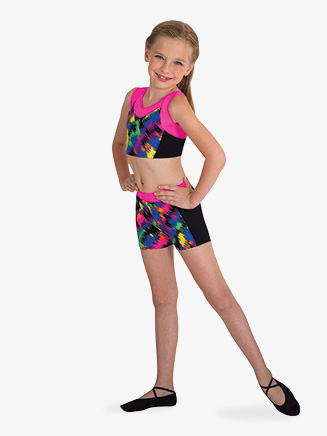 Girls Contrast Front Gymnastics Shorts - Style No BW2003