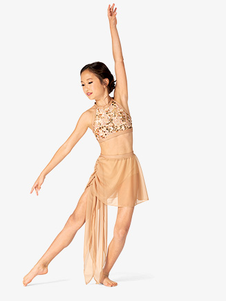 Girls Performance Draped Mesh Skirt - Style No BW3723