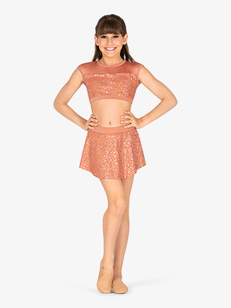 Girls Performance Sequin High-Low Skirt - Style No BW4022