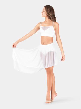 Adult Mid Length Asymmetrical Mesh Dance Skirt - Style No BW9107x