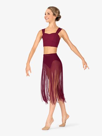 Womens Performance Asymmetrical Hem Fringe Skirt - Style No BW9811