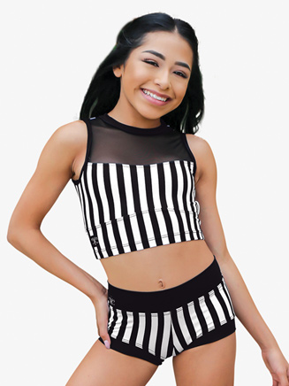 Girls Contrast Striped Dance Shorts - Style No CC8900C