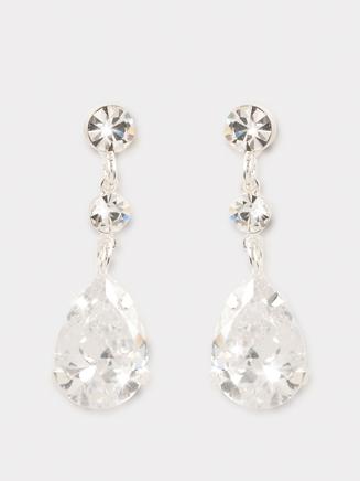 Crystal 3-Stone Drop Earrings - Style No CDE