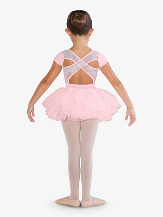 Girls Flower Print Mesh Ballet Tutu Dress - Style No CL4842