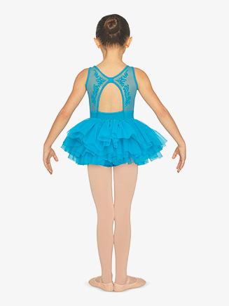 Girls Floral Mesh Open Back Tank Ballet Tutu Dress - Style No CL5555
