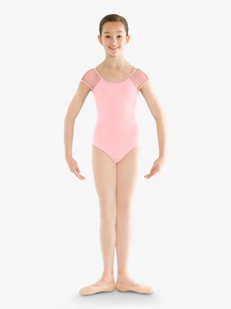 Girls Rhinestone Mesh Cap Sleeve Leotard - Style No CL9512x