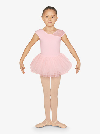 Girls Floral Mesh V-Back Short Sleeves Ballet Tutu Dress - Style No CL9872