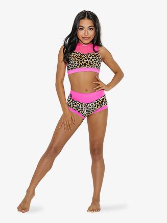 Girls Animal Print High Waist Dance Shorts - Style No CS1738C