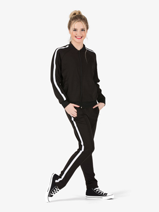Womens Team Full Zipper Long Sleeve Striped Jacket - Style No D3046