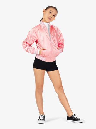 Girls Zip Up Satin Dance Bomber Jacket - Style No D3048C