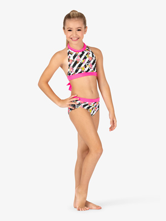 Girls Floral Stripe Dance Briefs - Style No DB302Cx