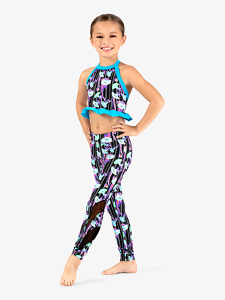 Girls Neon Floral Print Dance Leggings - Style No DB320Cx