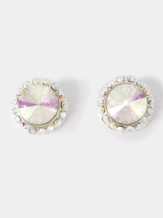 Iridescent Stone 10mm Clip-On Earrings - Style No EC8AI