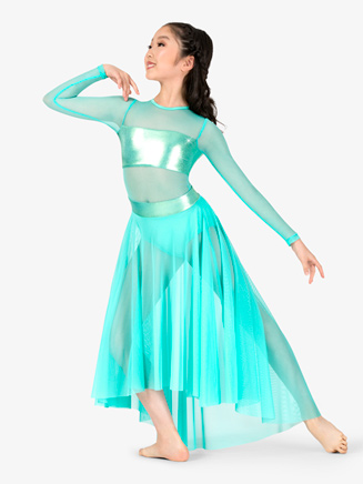 Girls Metallic Accented Long Sleeve Mesh Asymmetrical Dress - Style No EL116C