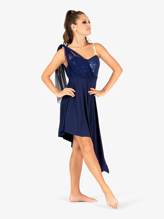 Womens Draped Asymmetrical Bodice Camisole Performance Dress - Style No EL117