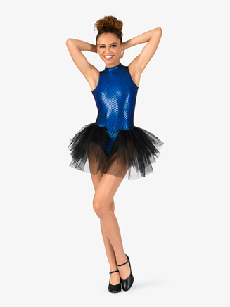 "Womens ""Blue Bayou"" Checkered Bustled Performance Leotard - Style No EL122"