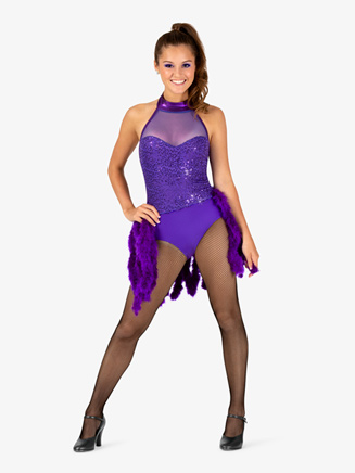 Womens Performance Feather Boa Bustled Halter Leotard - Style No EL123