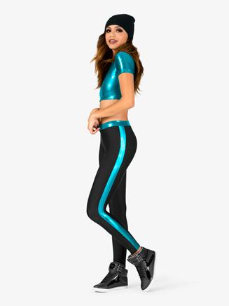 Womens Metallic Crop Top and Leggings Hip-Hop Costume Set - Style No EL129