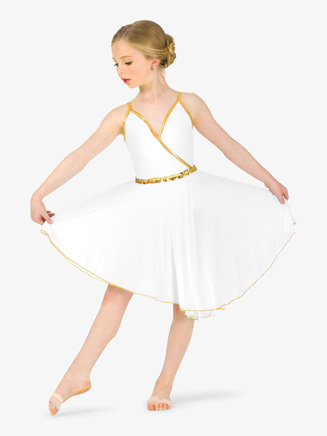 Girls Dance Costume Grecian Asymmetrical Dress - Style No EL152C