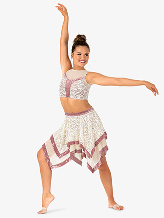 Womens 2-Piece Dance Costume Top & Skirt Set - Style No EL166