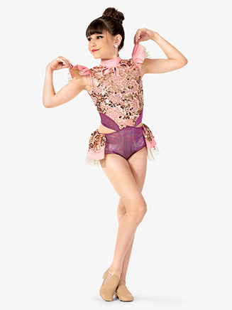 Girls Performance Sequin & Metallic Leotard - Style No EL167C