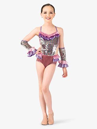 Girls Performance Pastel Sequin Camisole Leotard - Style No EL169C