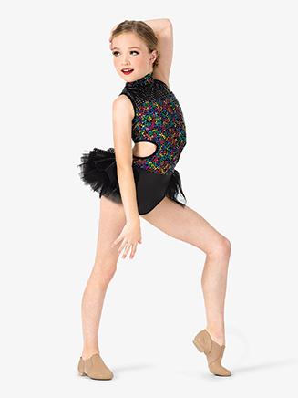 Girls Performance Bustled Sequin Leotard - Style No EL172C