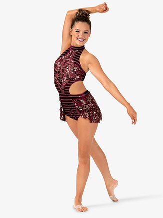 Womens Performance Side Cutout Halter Leotard - Style No EL173